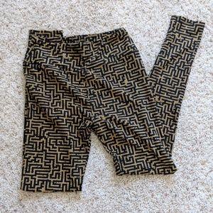 LuLaRoe Gold/Black Leggings, Sz One Size